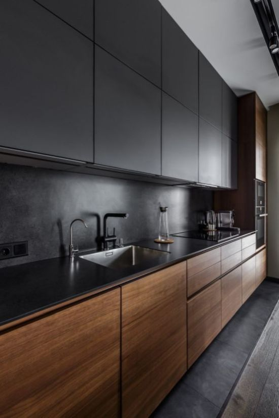 Ultra-Minimalist Kitchen With Sleek Black And Rich-Stained Cabinets
