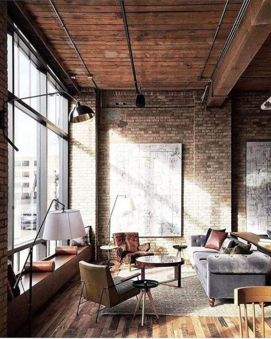 Vintage Industrial Living Room Décor With Exposed Metal And Refined Furniture