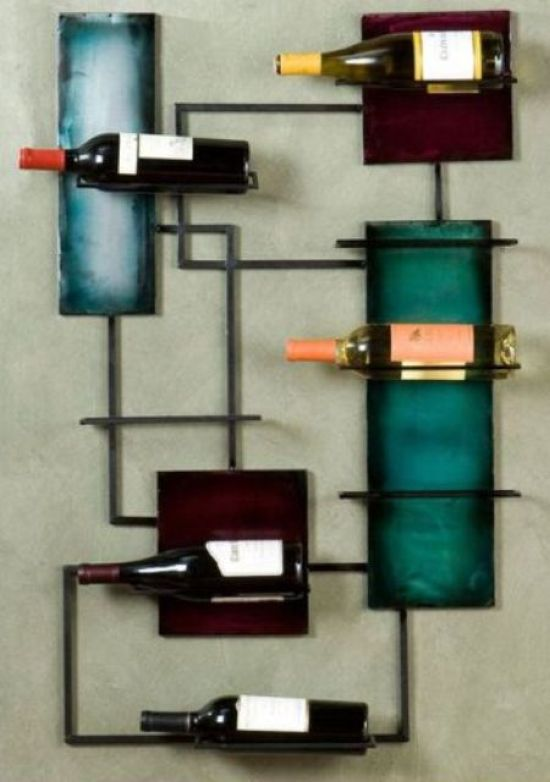 Wall-Mounted Colorful Shelf Wine Storage With Colorful Squares