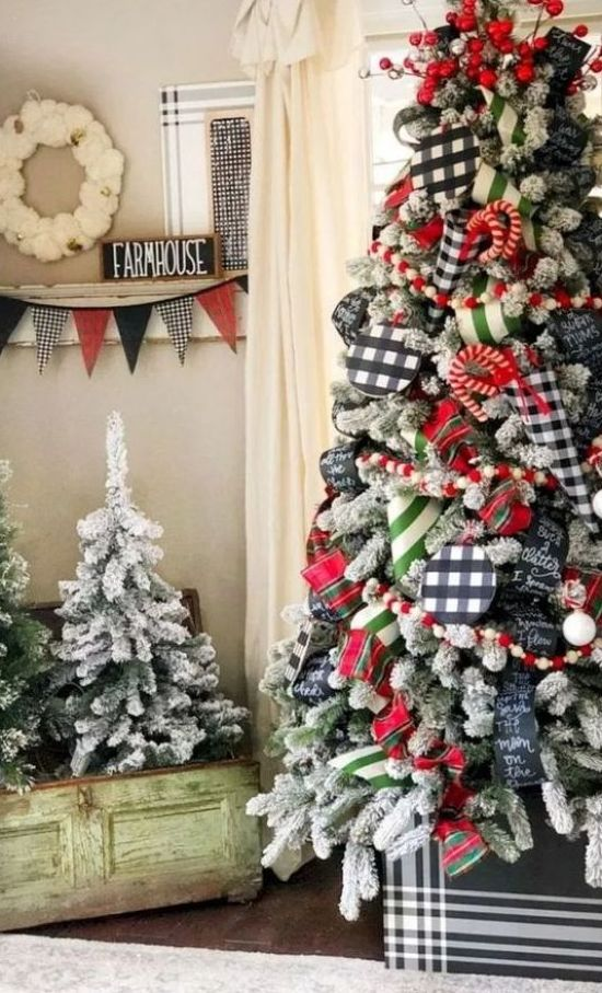 Whimsical Christmas Tree Decorated With Buffalo Check Ornaments