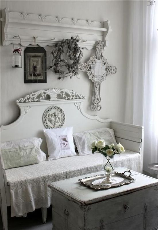 White Entryway With A Carved Clothes Hanger