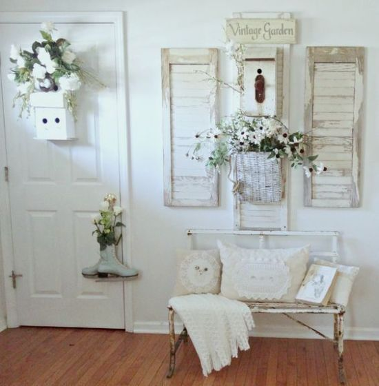 White Shabby Chic Entry With A Metal Bench