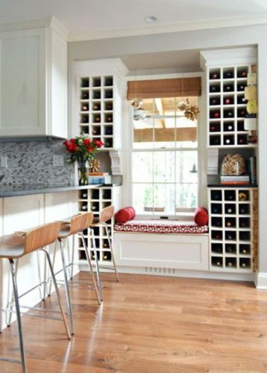 White Wine Storage Units On Both Sides Of The Window
