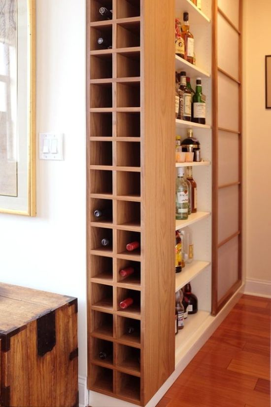 Wine Storage Built-In Minimalist Plywood Shelf