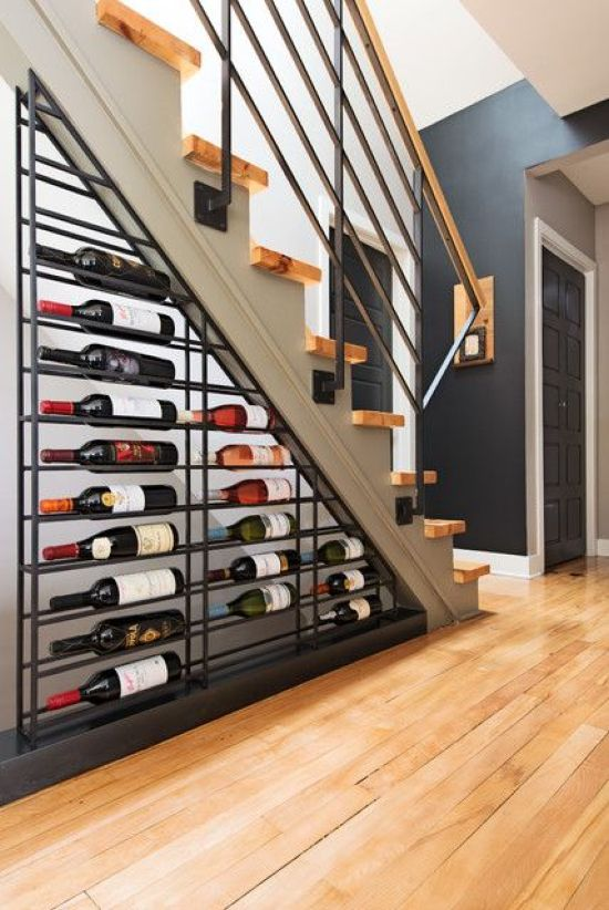 Wine Storage In Metal Shelf Attached Under The Staircase