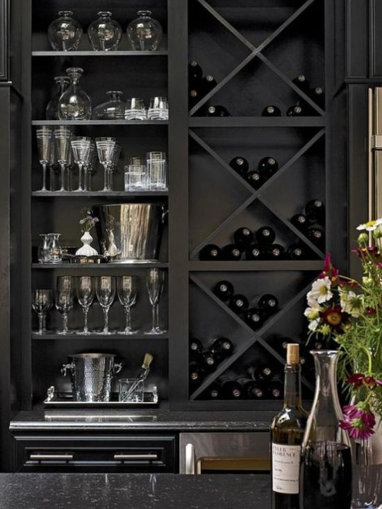 Wine Storage Unit For Wine Bottles In A Kitchen Cabinet