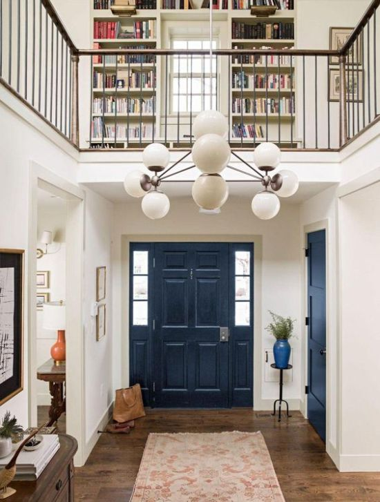A Neutral Space With A Navy Door