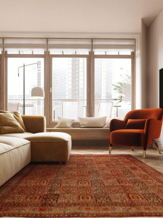 Airy Living Room With Touches Of Reddish