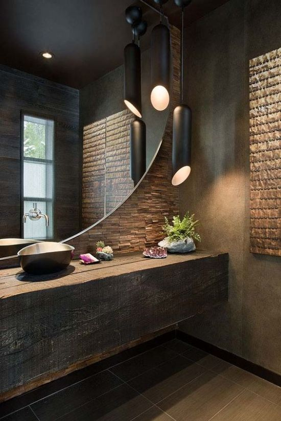 Bathroom With A Duo Of Matte Black Long Pendant Lamps
