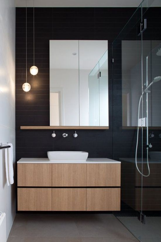 Bathroom With Two Small Glass Bubble Pendant Lamps