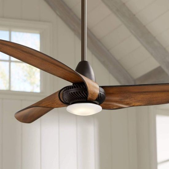 Bent Molded Leaf Ceiling Fan With Light