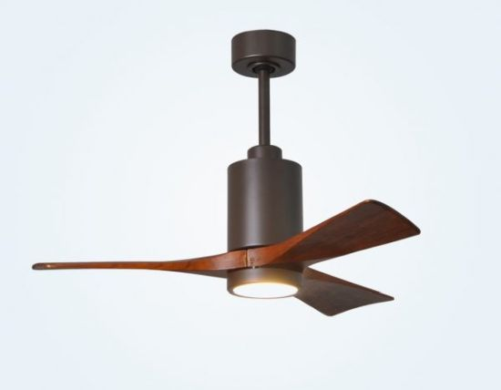 Black & Wood Accents Ceiling Fan With Built-in Light