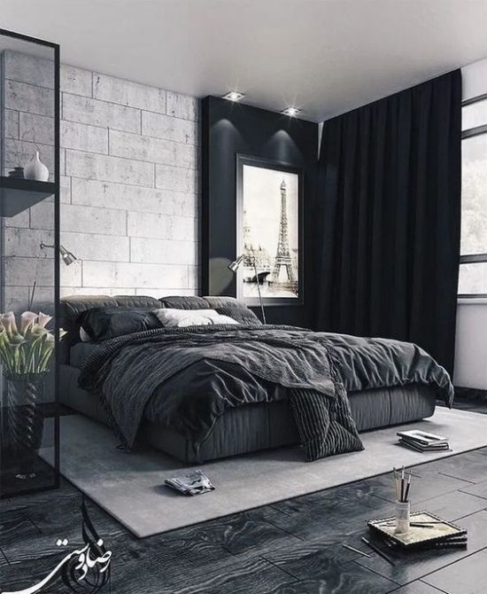 Bold Black And White Bedroom With Dark Floors