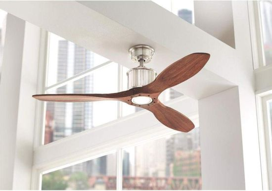 Brushed Nickel-Walnut Finish Ceiling Fan With LED Light