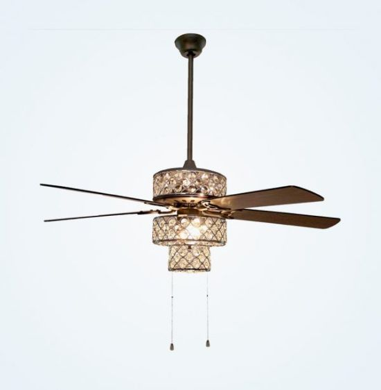 Crystal and Silver Metal Shade Ceiling Fan