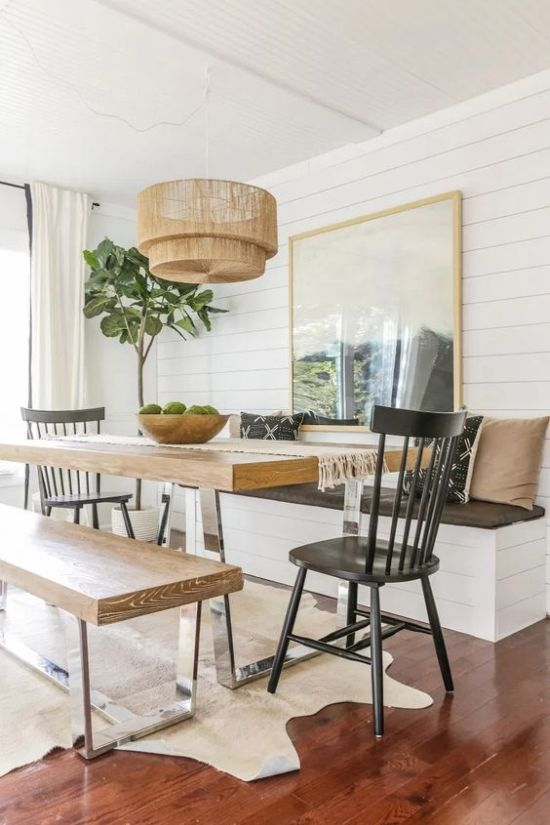 Dining Room Décor With A Metal Base And Wooden Benches