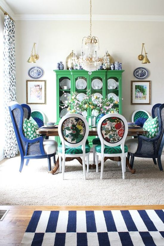 Dining Room Décor With Colorful Printed Chairs With Emerald Seats