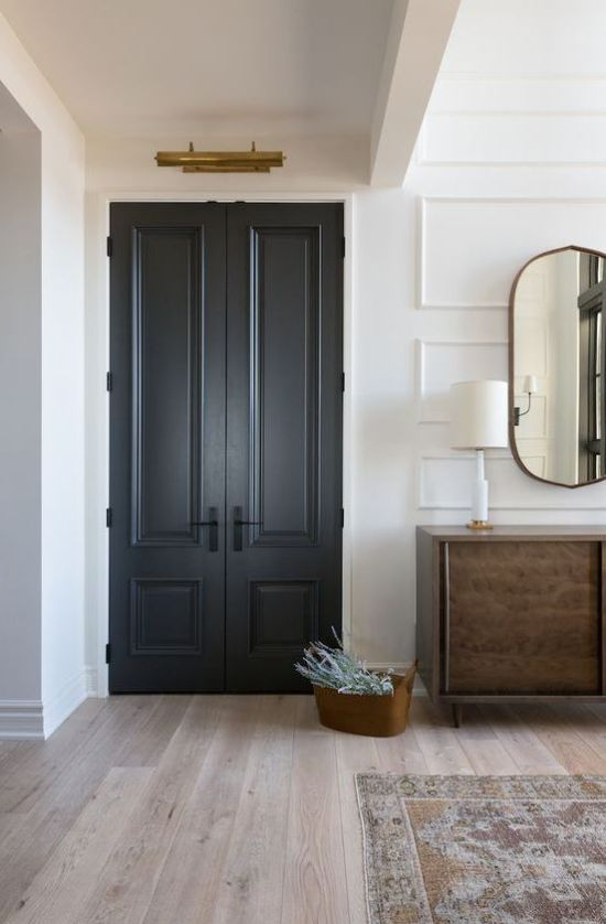 Farmhouse Living Room With Graphite Grey Doors
