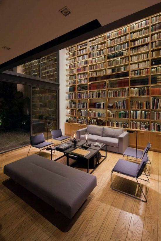 Home Library With Contemporary Furniture