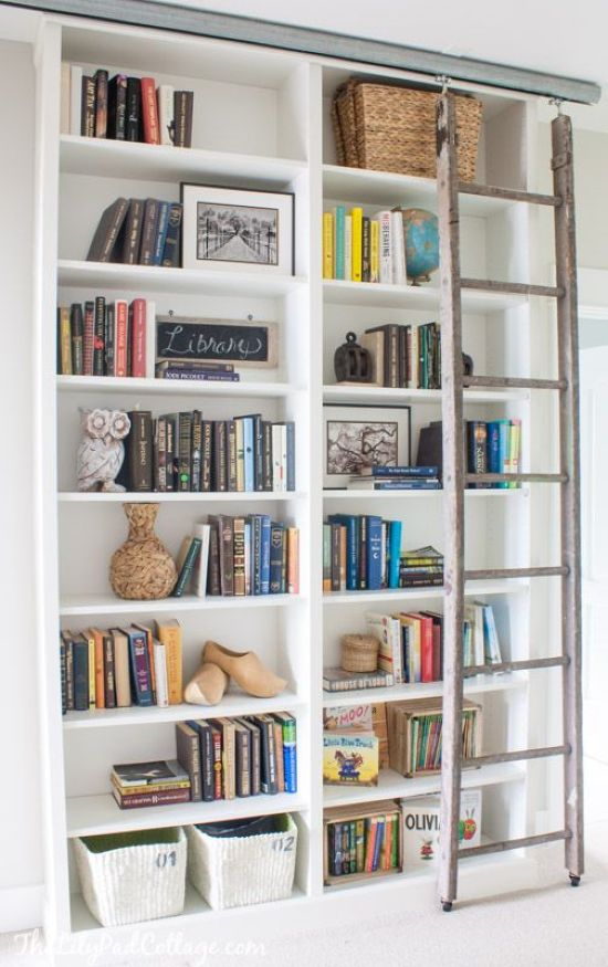 IKEA Billy Bookcase With Rustic Moving Ladder