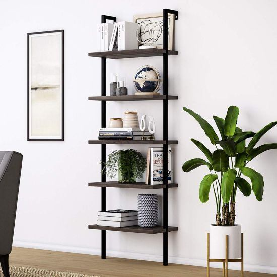 Industrial Wood Ladder Bookcase With Metal Frame