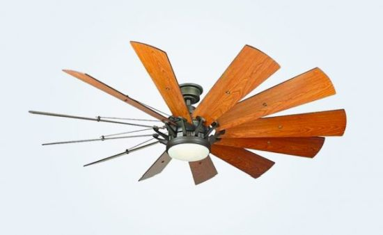 Large 12 Leaf Industrial Style Windmill Ceiling Fan With Light
