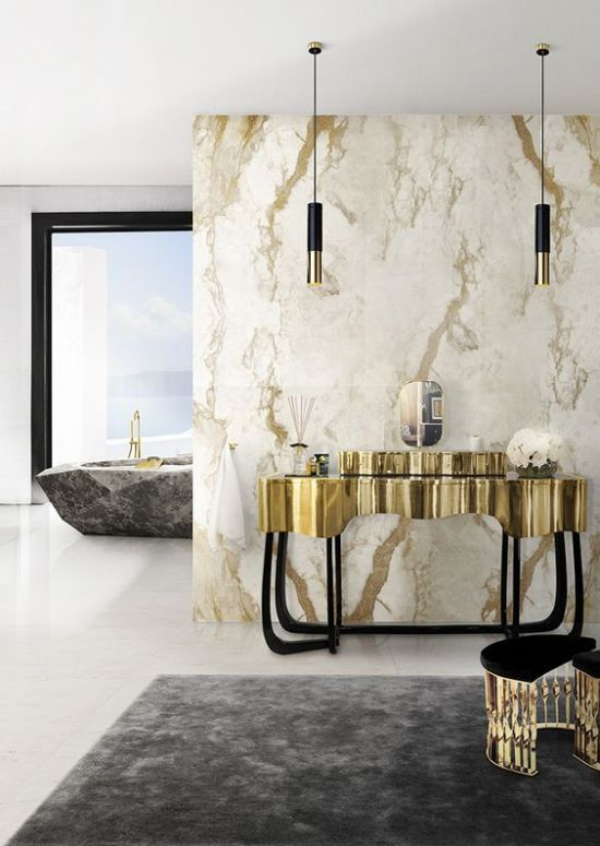 Modern Bathroom Light Idea With Black And Gold Pendant Lamps