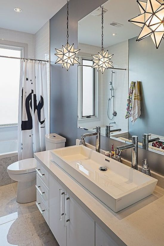 Modern Bathroom Light Idea With Cool 3D Star Pendant Lamps On Chains