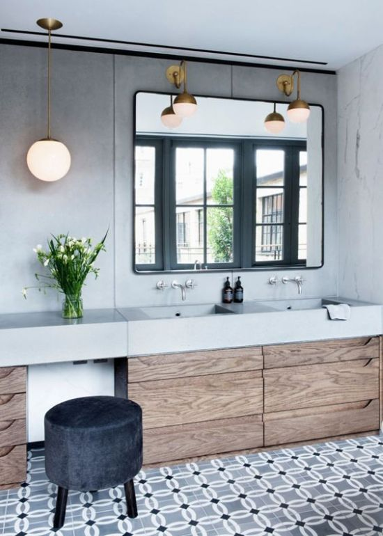 Modern Bathroom With Wall And Pendant Globe Lamps