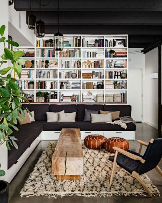 Modern Home Library With An L-Shaped Black Sofa