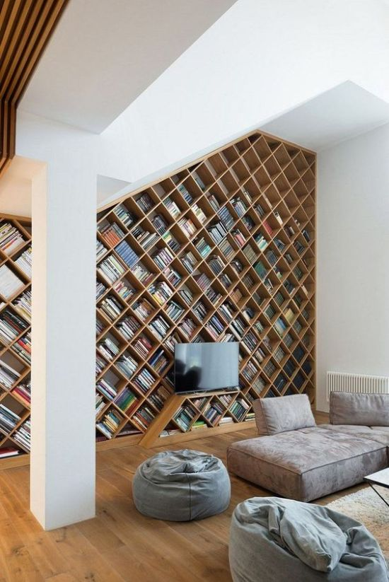 Modern Home Library With Contemporary Furniture In Greys