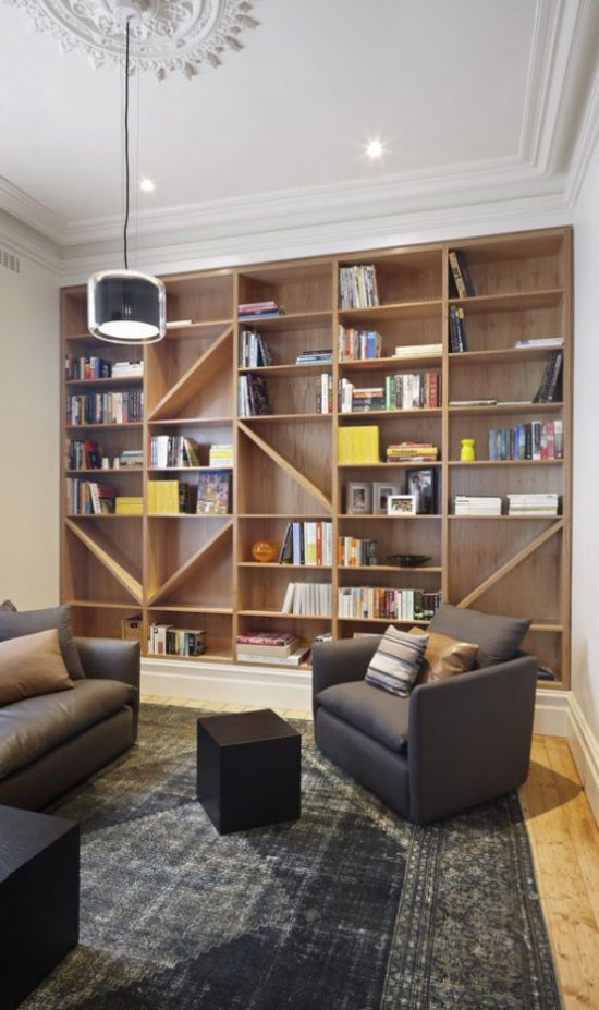 Modern Home Library With Grey Furniture