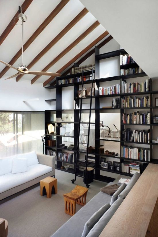 Modern Home Library With Neutral Seating Furniture