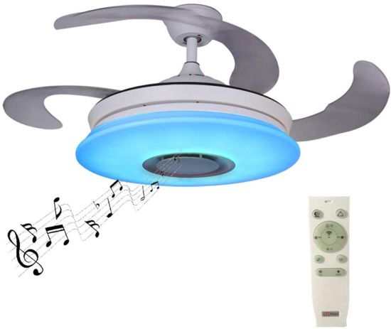 Retractable Ceiling Fan With Color Controlled Lights And Music