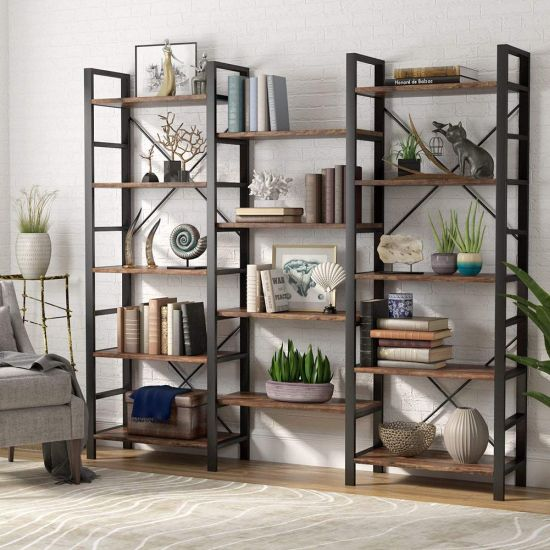 Vintage Industrial Style Wood And Metal Bookcase