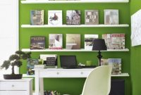 Spring Home Office Décor Idea With Green Paint And Removable Wallpaper