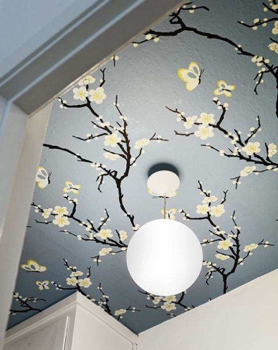 Home Décor With Blooming Branches On The Ceiling