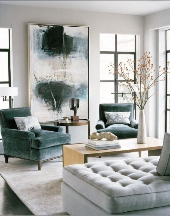 How To Expand Living Room With An Over-Sized Artwork And Chairs
