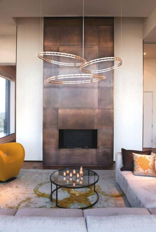 How To Expand Living Room With Fireplace With Copper Panels