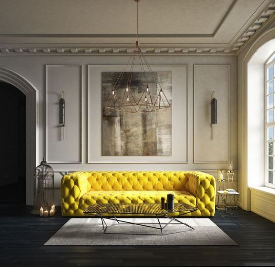 How To Expand Living Room With Super Bold Yellow Tufted Sofa