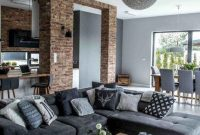 Contemporary Industrial Living Room With A Grey Laminate Floor
