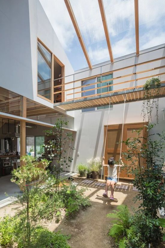 Indoor Courtyard Design Idea With Greenery And A Glass Ceiling
