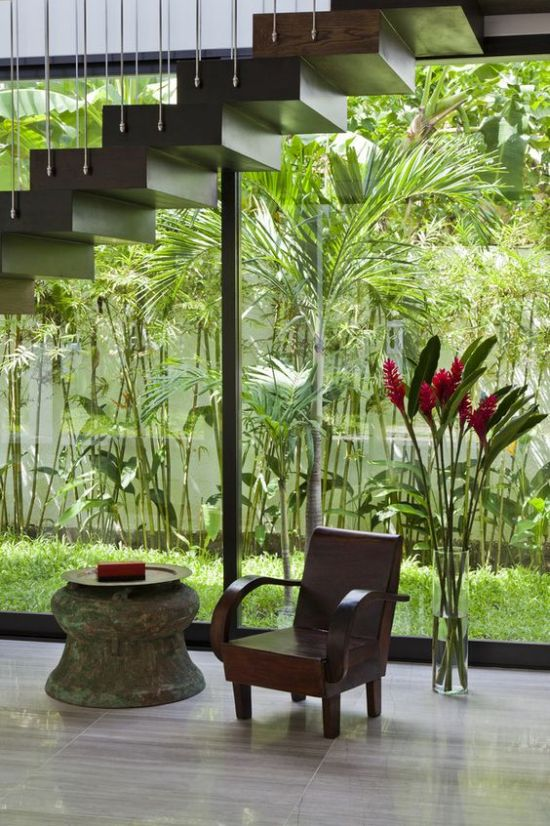 Indoor Courtyard Design Idea With Lots Of Greenery