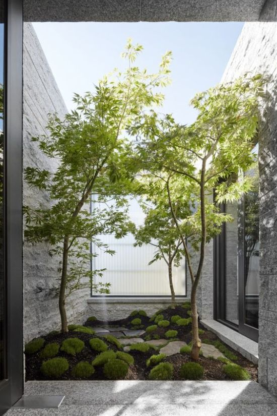 Indoor Courtyard Design Idea With Moss And Rocks