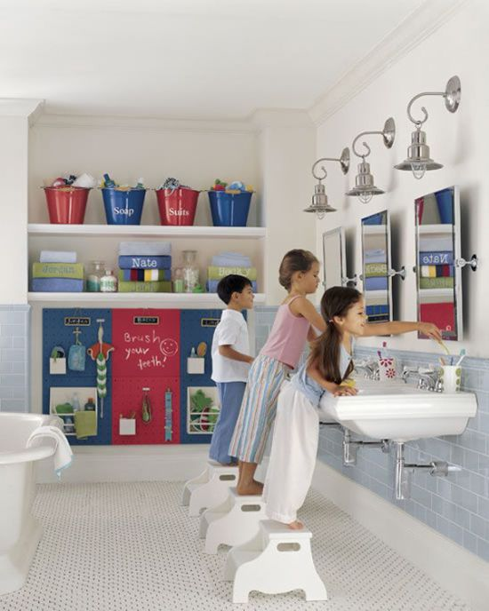 Kid Bathroom Decor With Accessories And A Storage Board