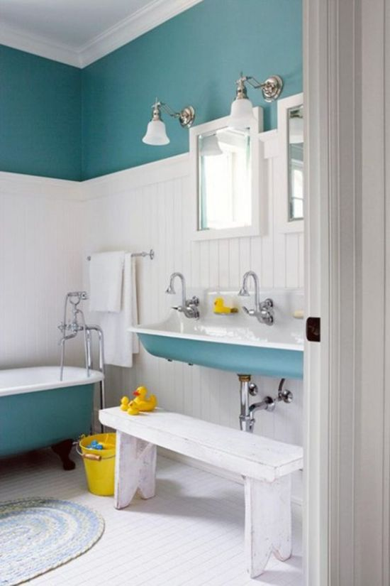 Kid Bathroom Decor With Color Block Walls And Bright Touches