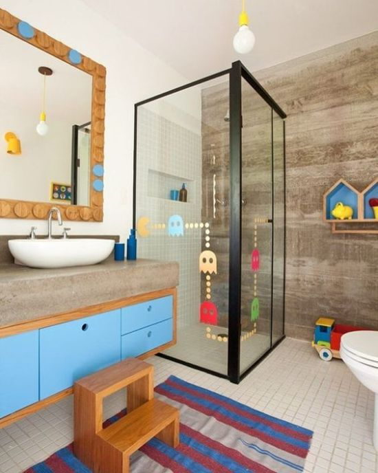 Kid Bathroom Decor With Colorful Vanity And Rug