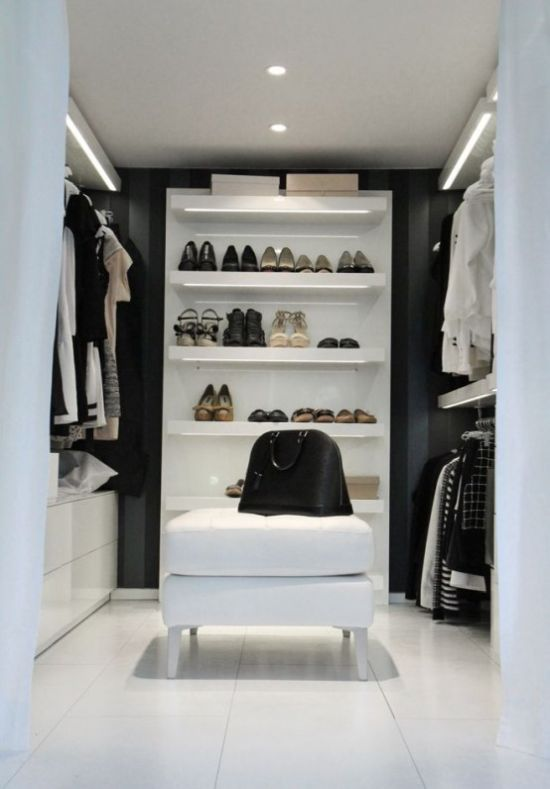 Minimalist Black And White Closet With Hangers