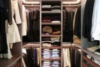 Minimalist Closet Designs With Dark Stained Wood