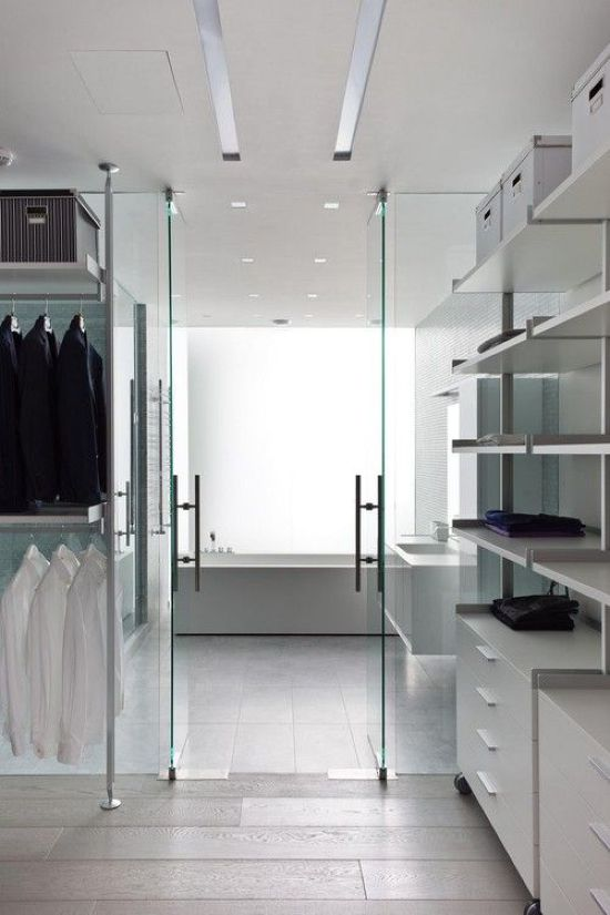 Minimalist Closet Finished In White With Holders